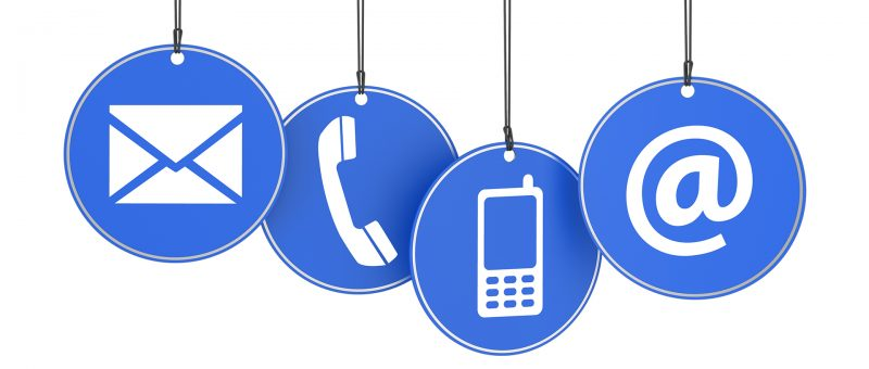 Website and Internet contact us page concept with icons on four blue hanged tags on white background.